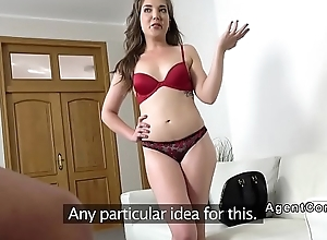 Euro fake agent bangs humble brunette