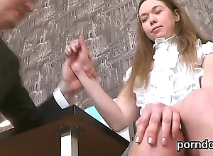 Sultry college girl is seduced and drilled by her older schoolteacher