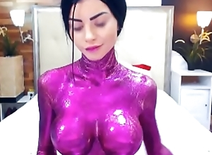 Teasing Sexy Girl With Purple Body Paint