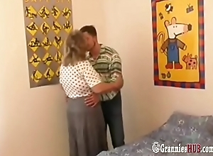 Skinny Young Guy And BBW Granny With Huge Boobs Fucking