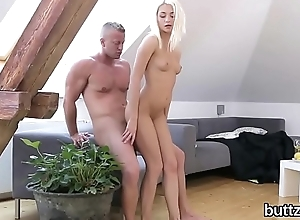 Charming tight chick gets her narrowed twat and tiny anal shagged