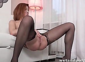 Wetandpuffy - Pantyhose crippling redhead teases her puffy pussy and ass
