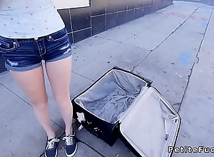 Petite blonde from suitcase banging