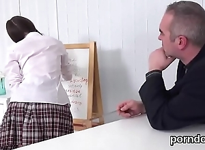 Fervid schoolgirl gets tempted together with nailed wide of say no to elder teacher