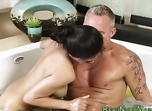 Asian masseuse jerking