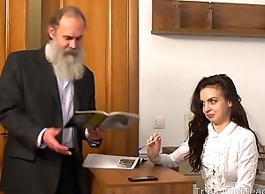 Tricky Old Teacher - Old teacher with her comely natural boobs Milana Witchs
