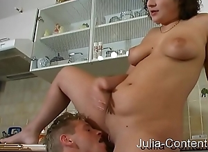 Prop fucked in kitchen