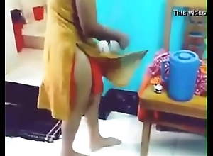 indian girl removing rags in front of her bf with hindi audio