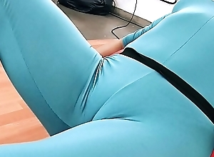 Huge Ass Latin chick Exposing Cameltoe in Tight Spanex Bodysuit