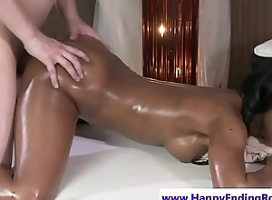 Dicksucking ebony babe doggystyled by masseur