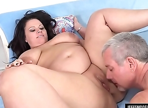 Full Figured Crystal Valentine Sucks a Fat Cock Before Being Screwed with It