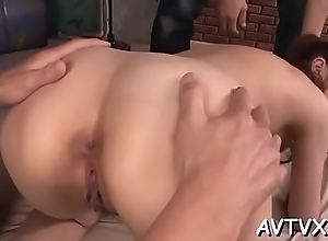 Titillating asian muff fingering